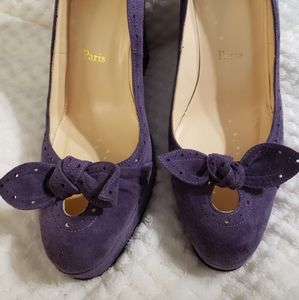 Hot!!  Christian Louboutin Purple Suede Wedges